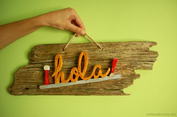 Hola Bienvenido Madera Letrero Wood Vintage Recycled Handmade Rustic Hello House Rústico Hecho a mano
