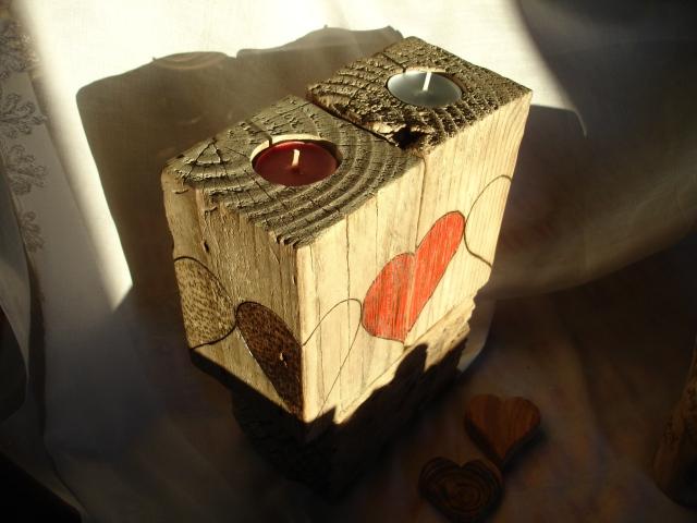 portavelas de madera reciclada